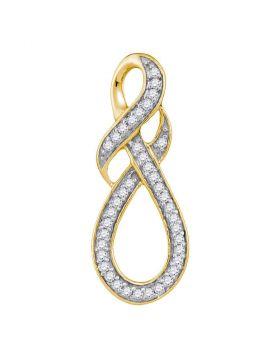 10kt Yellow Gold Womens Round Diamond Wraparound Infinity Pendant 1/5 Cttw