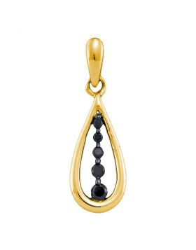 10kt Yellow Gold Womens Round Black Color Enhanced Diamond Teardrop Pendant 1/8 Cttw