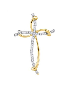 10kt Yellow Gold Womens Round Diamond Slender Curved Open Cross Pendant 1/10