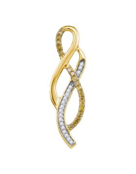 10kt Yellow Gold Womens Round Yellow Color Enhanced Diamond Fashion Woven Strand Pendant 1/5 Cttw