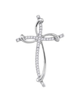 10kt White Gold Womens Round Diamond Slender Curved Open Cross Pendant 1/10 Cttw