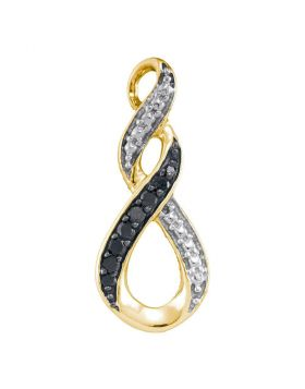 10kt Yellow Gold Womens Round Black Color Enhanced Diamond Vertical Infinity Pendant 1/12 Cttw