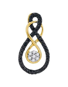 10kt Yellow Gold Womens Round Black Color Enhanced Diamond Double Infinity Cluster Pendant 1/4 Cttw