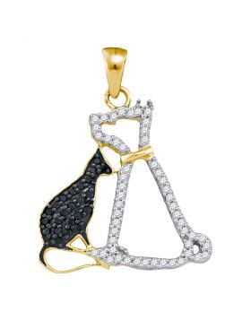 10kt Yellow Gold Womens Round Black Color Enhanced Diamond Kitty Cat Feline Animal Pendant 1/4 Cttw