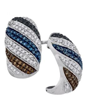 10kt White Gold Womens Round Black Blue Brown Color Enhanced Diamond Half Hoop Earrings 1/2 Cttw