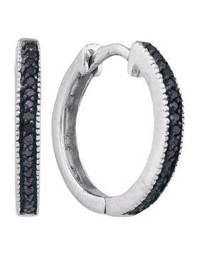 10kt White Gold Womens Round Black Color Enhanced Diamond Hoop Earrings 1/10 Cttw
