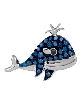 10kt White Gold Womens Round Blue Color Enhanced Diamond Whale Animal Pendant 1/5 Cttw