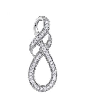 10kt White Gold Womens Round Diamond Wraparound Infinity Pendant 1/5 Cttw