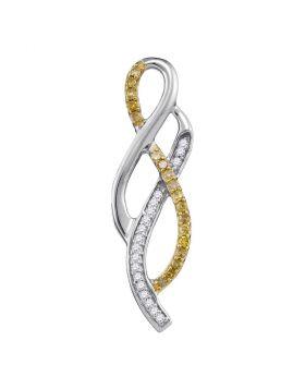 10kt White Gold Womens Round Yellow Color Enhanced Diamond Woven Strand Pendant 1/5 Cttw