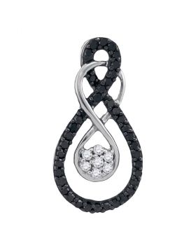 10kt White Gold Womens Round Black Color Enhanced Diamond Double Infinity Cluster Pendant 1/4 Cttw