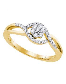 10kt Yellow Gold Womens Round Diamond Flower Cluster Twist Swirl Ring 1/4 Cttw