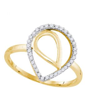 10kt Yellow Gold Womens Round Diamond Nested Teardrop Fashion Ring 1/10 Cttw