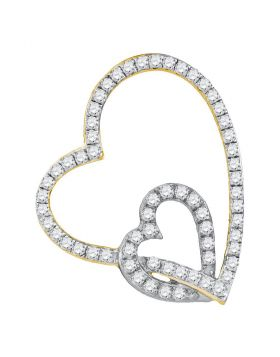 10kt Yellow Two-tone Gold Womens Round Diamond Double Linked Heart Pendant 1/3 Cttw