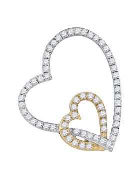 10kt White Two-tone Gold Womens Round Diamond Double Linked Heart Pendant 1/3 Cttw