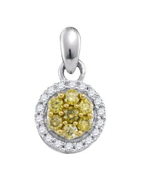 10kt White Gold Womens Round Yellow Color Enhanced Diamond Circle Frame Cluster Pendant 1/4 Cttw