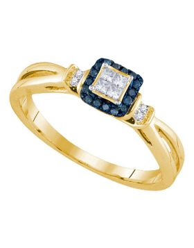 14kt Yellow Gold Womens Princess Blue Color Enhanced Diamond Fashion Ring 1/6 Cttw