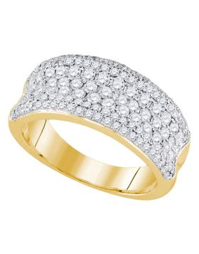 14k Yellow Gold Womens Round Diamond Pave Wedding Anniversary Band Ring 1-1/3 Cttw