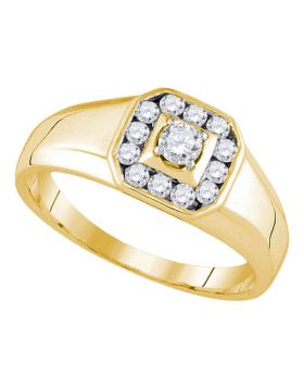 14KT YELLOW GOLD ROUND DIAMOND CLUSTER RING 1/2 CTTW