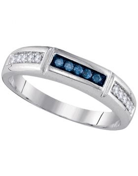 14kt White Gold Womens Round Blue Color Enhanced Diamond Band Ring 1/4 Cttw