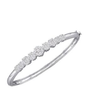 14kt White Gold Womens Round Diamond Bangle Bracelet 2.00 Cttw