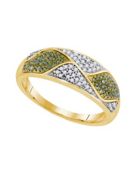10kt Yellow Gold Womens Round Green Color Enhanced Diamond Fashion Band Ring 1/4 Cttw