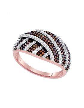 10kt Rose Gold Womens Round Red Color Enhanced Diamond Striped Fashion Ring 1/2 Cttw
