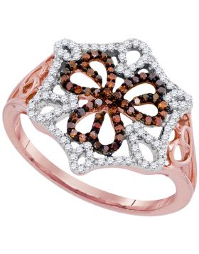 10kt Rose Gold Womens Round Red Color Enhanced Diamond Openwork Triple Heart Cluster Ring 1/3 Cttw