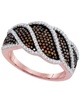 10kt Rose Gold Womens Round Red Color Enhanced Diamond Striped Band Ring 3/4 Cttw
