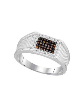 10KT WHITE GOLD ROUND BLACK COLOR ENHANCED DIAMOND RECTANGLE FRAME CLUSTER RING 1/5 CTTW