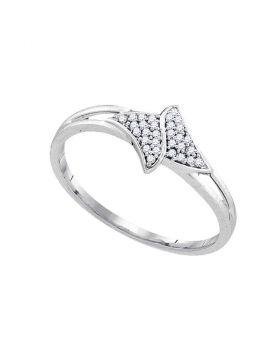 10kt White Gold Womens Round Diamond Slender Cluster Bypass Ring 1/12 Cttw