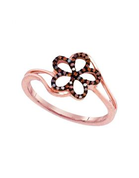 10kt Rose Gold Womens Round Red Color Enhanced Diamond Flower Floral Ring 1/8 Cttw