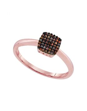 10kt Rose Gold Womens Round Red Color Enhanced Diamond Square Cluster Ring 1/8 Cttw