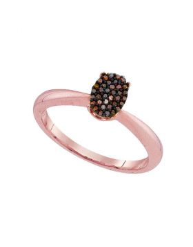 10kt Rose Gold Womens Round Red Color Enhanced Diamond Oval Cluster Ring 1/10 Cttw