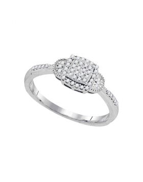 10kt White Gold Womens Round Diamond Square Cluster Ring 1/5 Cttw
