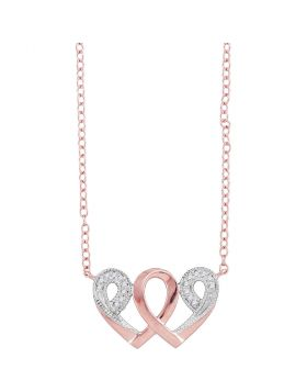 10k Rose Gold Womens Diamond Interwoven Heart Infinity Love Pendant Necklace 1/20 Cttw