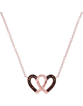 10kt Rose Gold Womens Round Red Color Enhanced Diamond Heart Necklace Pendant 1/10 Cttw