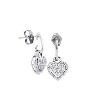 10kt White Gold Womens Round Diamond Dangle Earrings 1/5 Cttw