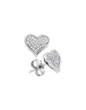 10kt White Gold Womens Round Diamond Heart Earrings 1/5 Cttw