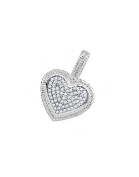 10kt White Gold Womens Round Diamond Heart Milgrain Pendant 1/6 Cttw