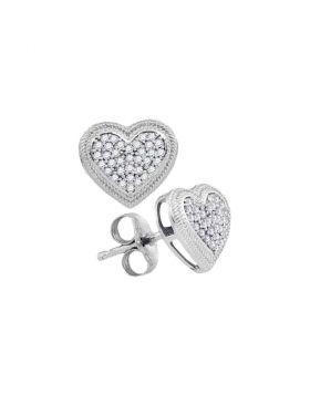 10kt White Gold Womens Round Diamond Heart Cluster Earrings 1/5 Cttw