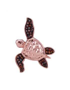 10kt Rose Gold Womens Round Red Color Enhanced Diamond Sea Turtle Tortoise Pendant 1/10 Cttw