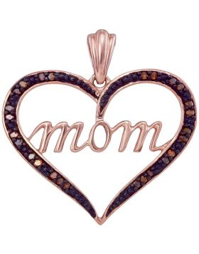 10k Rose Gold Womens Red Color Enhanced Diamond Mom Heart Mother's Day Pendant 1/12 Cttw