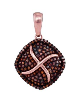 10kt Rose Gold Womens Round Red Color Enhanced Diamond Square Cluster Pendant 1/3 Cttw
