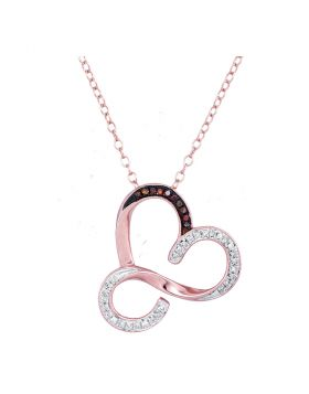 10kt Rose Gold Womens Round Red Color Enhanced Diamond Heart Pendant Necklace 1/8 Cttw