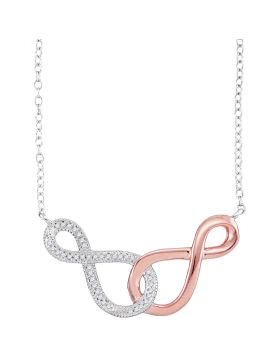 10kt Two-tone Rose Gold Womens Round Diamond Infinity Pendant Necklace 1/10 Cttw