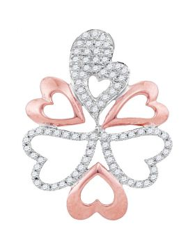 10kt White Gold Womens Round Diamond Rose-tone Oval Heart Cluster Pendant 1/5 Cttw