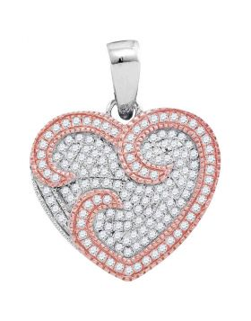 10kt Two-tone Rose Gold Womens Round Diamond Heart Pendant 1/3 Cttw