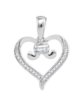 10kt White Gold Womens Diamond Bound Tied Heart Pendant 1/12 Cttw