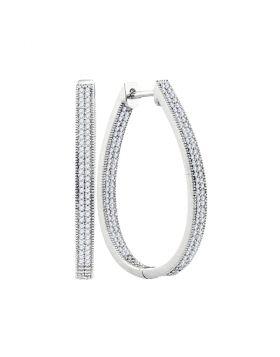10kt White Gold Womens Round Diamond Oval Hoop Earrings 1.00 Cttw