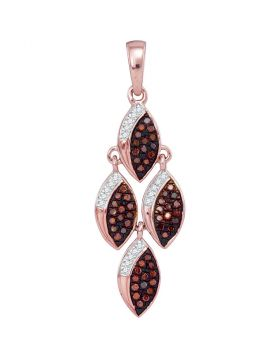 10kt Rose Gold Womens Round Red Color Enhanced Diamond Cascading Oval Pendant 1/4 Cttw